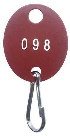 Zoro Select 33J884 Key Tag Numbered 101 To 200,Red,Pk100