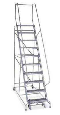 Cotterman 1010r2632a3e10b4c1p6 10 Steps 100 H Steel Rolling Ladder 450 Lb.