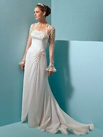 Alfred Angelo Wedding Dress New with Tags & Bolero Size 12/13 Cathedral Train Beading Beautiful