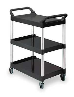 Rubbermaid Fg342488bla 3-shelf 200 Lb. Black Plastic Utility Cart