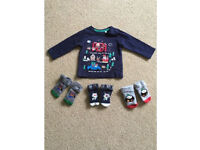 Christmas T-shirt and Socks Bundle 3-6 Months