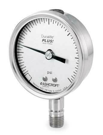 Ashcroft 351009Sw02lxll15 Pressure Gauge, 0 To 15 Psi, 1/4 In Mnpt, Stainless