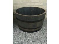 SOLID OAK HALF WHISKEY BARREL GARDEN PLANTER