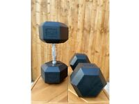 NEW DUMBBELLS HEX 25KG (PAIR) (OTHER SIZES AVAILABLE)