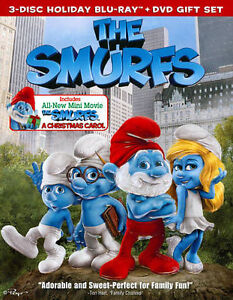 The Smurfs 3-Disc Holiday Blu-Ray + DVD Gift Set Like New