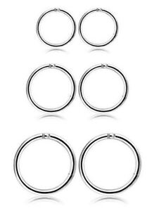 Brand New 3 Pair Stainless Steel 16G Sleeper Earrings Septum