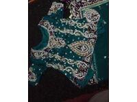 Beautiful TEAL Asian wedding Lengha dress for sale