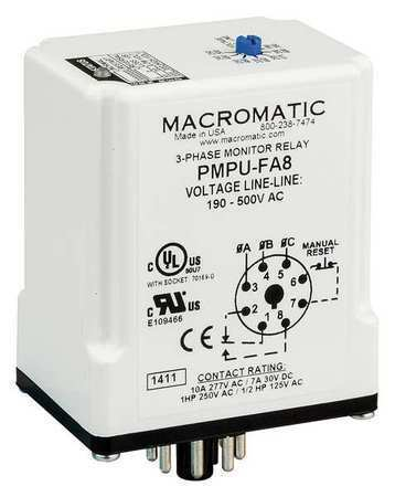 Macromatic Pmpu-Fa8 3 Phase Monitor Relay,Spdt,500Vac,8 Pin