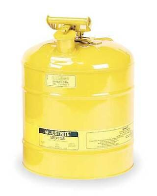Justrite 7150200 5 Gal. Yellow Steel Type I Safety Can For Diesel