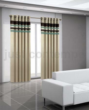 Duck Egg Blue Brown Curtains Ebay