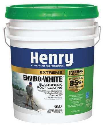 Henry He687406 Elastomeric Roof Coating, 4.75 Gal, Pail, White