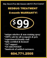 BEDBUG TREATMENT AND CONTROL - $99.00! Free follow-ups!