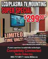 """Tv wall wall installation lcd plasma led """" SPECIAL ON NOW """""""