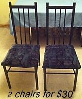 2 black kitchen chairs / upholstery seats