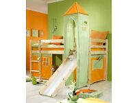 Child's cabin bed, includes slide and play den underneath BUT NO TOWER. Perfect condition.