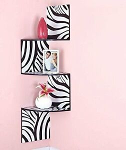 Zigzag Corner Wall Shelves Zebra/Black, New