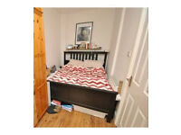 IKEA Hemnes King Size Double Bed Black-Brown with Luroy Slats