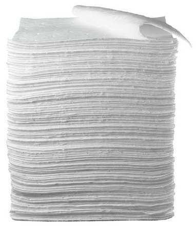 3M Hp-156 Absorbent Pad, Absorbs 37.5 Gal. Oil-Based Liquids, Pk 100 ,White