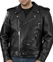 OLD STYLE MENS LEATHER M/L BIKERS COAT (MONTREAL - NEAR METRO)