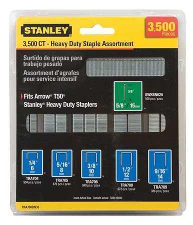 "STANLEY TRA700BN35 Heavy Duty Narrow Crown Staple & Brad Assortment (27/64"" x"