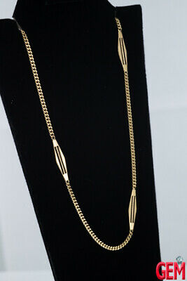 """Vintage Italian 18k Solid Yellow Gold 750 Fob Pocket Watch Chain 17.5"""" (2)"""