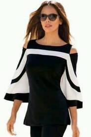 Color block Bell Sleeve cold Shoulder Top