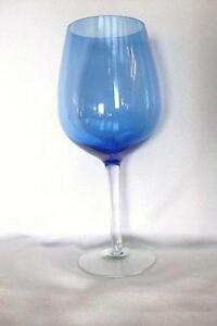 Blue Ridged Stem Drinking Glass