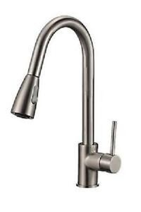 Brushed Nickel OR Chrome Pull-Down Sprayer Kitchen Faucet $110
