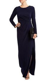 Long sleeved navy maxi dress size 14