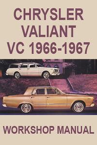 CHRYSLER VALIANT VC 1966-1967 WORKSHOP MANUAL - All Manuals $12