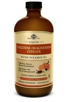 Solgar Liquid Calcium Magnesium Citrate w/ Vitamin D3 Natural Orange Vanilla