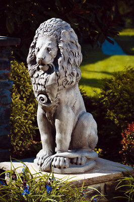 Extra Large SITTING LION outdoor cement garden statue