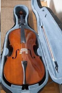 CELLO Full Size SOLID Spruce/Maple -hard travel case,bow MINT