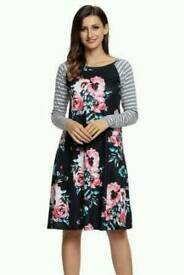 Black floral print stripe Raglan Sleeve dress