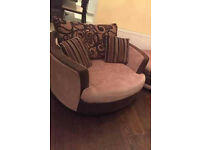 Perfect condition rotating Brown Fabric Arm chair