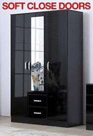 3 DOOR WARDROBE 2 DRAWER BLACK OR WHITE + DELIVERY