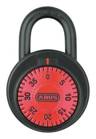 Abus 78/50 Red Combination Padlock,Front,Black/Silver