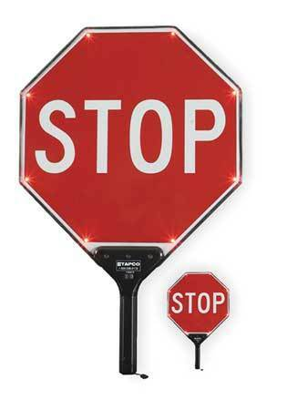 TAPCO 2180-00301 BlinkerPaddle® LED Sign,Stop/Stop,White/Red