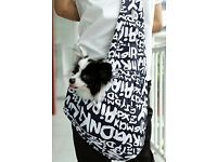 Small dog/Puppy sling carrier over the shoulder bag, plastic lining, hook to secure dog's collar