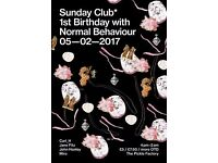 Sunday Club* 1st Bday w/ Normal Behaviour (Jane Fitz, Carl_H, John Hanley)