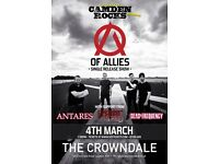 CAMDEN ROCKS PRESENTS OF ALLIES AND MORE AT CROWNDALE CLUB, CAMDEN