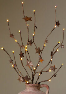 PriMiTiVe Country TWIG BRANCH LIGHTS RUSTY STARS Battery LED Light crocks jars