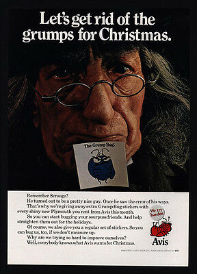 1968 Avis Car Rental   Christmas Scrooge   The Grump Bug   Vintage Ad