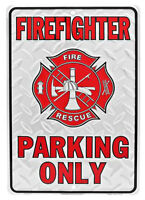 Tin Sign - FIREFIGHTERS PARKING ONLY
