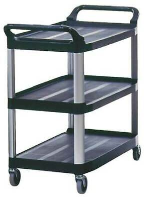 Rubbermaid Fg409100bla 3-shelf 300 Lb. Black Plastic Utility Cart