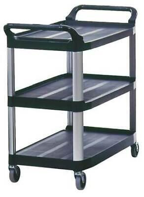 Rubbermaid Fg409100bla 3-shelf 300 Lb. Black Plastic Utility Cart