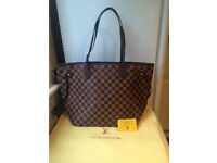 Louis Vuitton Neverfull Designer Bag Damier Tote Handbag Brown Check Womens Bag
