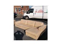 Dfs beige Italian leather corner sofa £259