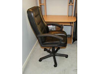 Black leather effect computer/office chair