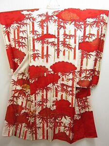 FREE-SHIPPING-12a1629-FURISODE-Vintage-Japanese-Kimono-Robe-Dress-Bamboo-Silk